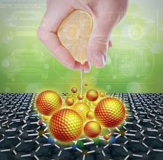오렌지에서 얻은 비타민C를 이용해 더 많은 에너지를 짜낸다는 이번 연구의 개요와 핵심을 보여주는 이미지. - 광주과학기술원 제공